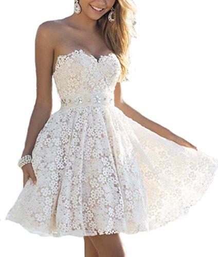 YOGLY Damen Weiße Kleider Elegant Spitze Bandeau A-Linie Lace Tief V-Ausschnitt Rückenfrei...