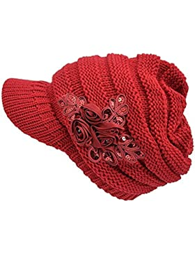 Moda mujeres invierno cálido de punto sombrero gorra Boina de esquí al aire libre para mujer con visera rojo Rojo