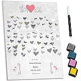 murando - Personalisierte Hochzeit Gästebuch 40x60 cm - bespanntes Bild - Fingerabdruck - Extra Geschenk - Wandbild mit Namen und Datum - Andenken - inkl. Stift & Stempelkissen Herz n-A-0599-aj-a