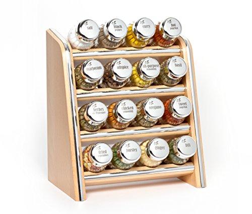 Galdbis portaspezie, mensola della cucina di legno per le spezie e per l'erbe, barattoli di vetro, gald - 16n silver, naturale argento lucido