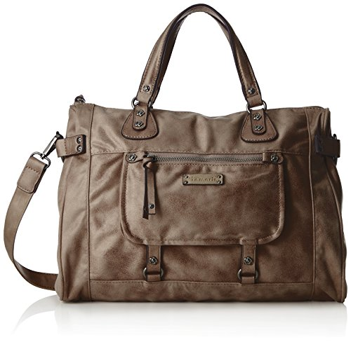 Tamaris Damen Ulla Bowling Bag Henkeltasche, Grau (Light Grey), 15x25x37 cm