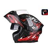 OUTO Freilegen Helm Motorrad Outdoor Reiten LED Rücklicht Warnung HD Anti-Fog-Spiegel Full Face Helm Männer und Frauen Cool (Farbe : Black red Devil, größe : XL)