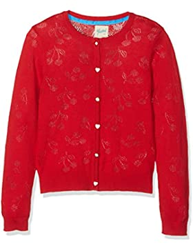 Yumi Mädchen Strickjacke Cherry Pointelle Cardigan (Red)
