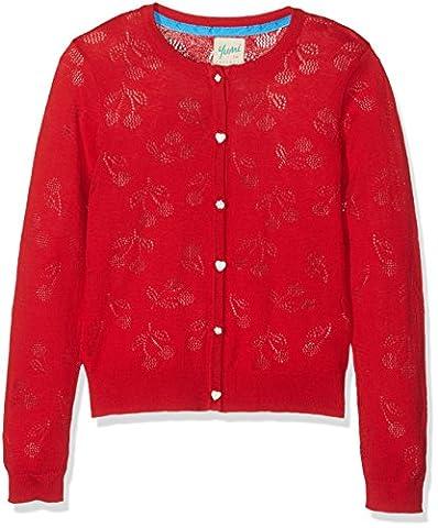 Yumi Mädchen Strickjacke Cherry Pointelle Cardigan (Red) Rot, 13-14 Jahre (Button-down-cotton Cardigan)
