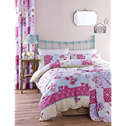 Catherine Lansfield Gypsy Patchwork - Juego de funda de edredón y fundas de almohada (230 x 220 cm, algodón), diseño de retales