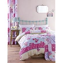catherine lansfield gypsy patchwork juego de funda de edredn y funda de almohada para cama