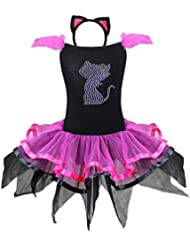 FEESHOW Gato Rosa Bailarina Chicas Sofisticado Vestido Halloween Disfraz De Animal Para Niña
