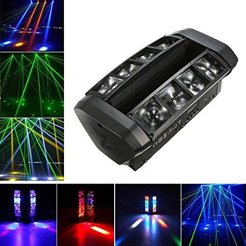 Lixada AC110-130V 60W RGBW 7/13 LED Bühnenbeleuchtung der Kanäle, Beleuchtungskörper Suported DMX512-Ton aktivierte Selbstlaufender Hauptsklaven-Minispinne-Stadiums-Lampe für DJ Show,Party, Konzert