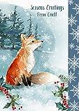Weihnachten Karte aus Axminster–Luxus Fox Design Xmas Karte aus ihrem Town