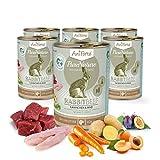 AniForte Natürliches Nassfutter Rabbit-Beef für Hunde, Kaninchen und Rind, getreidefrei, glutenfrei, Futter mit 85% Fleisch, Hundefutter für alle Hunderassen, Ohne künstliche Zusätze (6 x 400g)