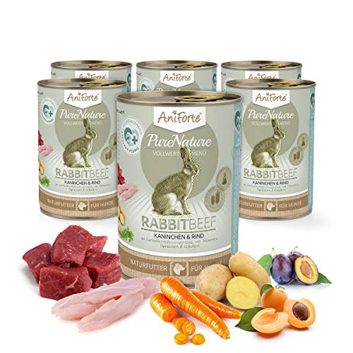 AniForte Natürliches Nassfutter Rabbit-Beef für Hunde, Kaninchen und Rind, getreidefrei, glutenfrei, Futter mit 85% Fleisch, Hundefutter für alle Hunderassen, Ohne künstliche Zusätze (6 x 400g) (Fleisch Frische Kaninchen)