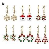 sunnymi 6 Paar Neujahr Weihnachten Baumeln Ohrringe Mode Schmuck Frau Tropfenohrringe (B, Muti)