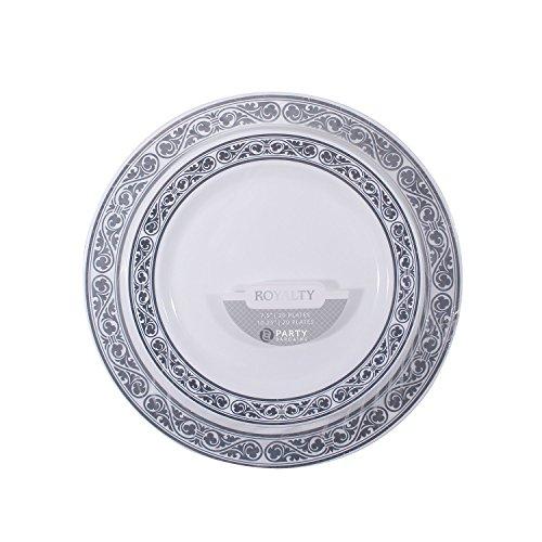 Royalty Collection, 40Pack weiß mit silber Rand Teller Combo (inkl. 50,8-19,1cm Teller und 50,8-26cm Teller) Schwergewicht Kunststoff Elegantes Geschirr-Set (Schwergewichts-kunststoff-teller)