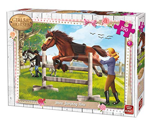 King Girls & Horses Show Jumping Time 100 pcs Puzzle - Rompecabezas (Puzzle Rompecabezas, Dibujos, Niños, Chica, 5 año(s), Cartón)