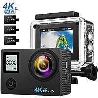 TOPELEK 4K Ultra HD Wifi Cámara Deportiva Impermeable, Actualizado Pantalla LCD 2.0 Inch,16MP y 170º Amplio Angulo de Visión,Cámara de Acción Impermeable con 3 1050mAh Batería y Un Palo Selfie