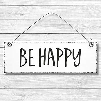 Be happy – Dekoschild Türschild Wandschild aus Holz 10x30cm – Holzdeko Holzbild Deko Schild
