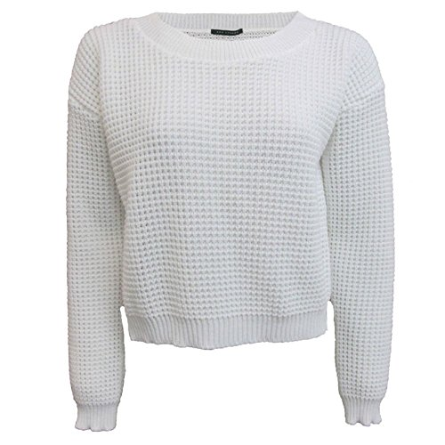 New Ladies Knitted Crop Top Long Sleeve Waffle Jumper Size 36-42 Bianca