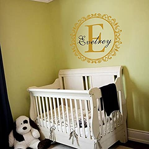 Custom Family Name Wall Decal Monogram Vinyl Decal Initial Name Wall Sticker circle Border Wall Decor Custom Name Wall Quote Nursery Room Art Decoration