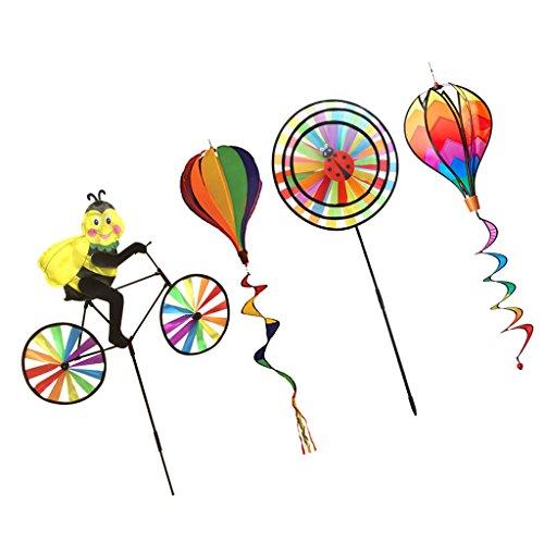 Sharplace 4 Sets Mehrfarbig 3D DIY Windmühle Windrad Windspiel Heißluftballon, Kinder Outdoor Spielzeug, Deko für Camping Hof Ballon Garten Party Festival