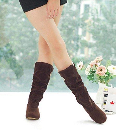 Zeagoo Flache Schuhe Damenschuhe Wadenhohe Stiefel Stiefeletten Winter Boots langschaft mit Raffung Coffee