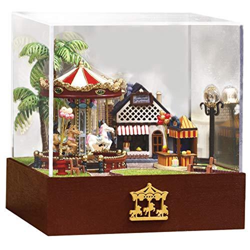 YEARNLY Puppenhaus Bausatz Holz Modell Set Möbliert Zimmer, Selbermachen Basteln Konstruktion BAU Kit Spielzeug für Kinder,Puppenhaus, Puppenvilla inkl,Mädchen-Spielzeug liebevoll Bedruckt (A) -