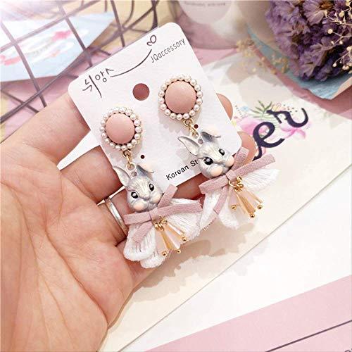 Boucles d'oreilles en dentelle coréenne Princess Wind avec boucles d'oreilles en perles de lapin nues 2