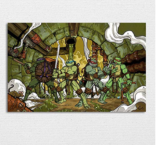 Assic Comics Ninja Turtles Poster, Teenage Mutant Ninja Turtles Wandkunst Bild, Kinder Boy Room Decor, Leo, Raph, Mike, Don 40 X 60 cm ohne Rahmen (Turtle Decor Ninja Room)