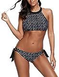 Ocean Plus Damen Spitze Hochgeschlossen Bikini Set Schleife Mesh Tank Top Beachwear X-Back Zweiteilig Tankini (XL (EU 38-40), Schleife Punkte)