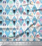 Soimoi Blau Baumwolljersey Stoff Diamant & Eiswaffel Lebensmittel Stoff drucken Meter 58 Zoll breit