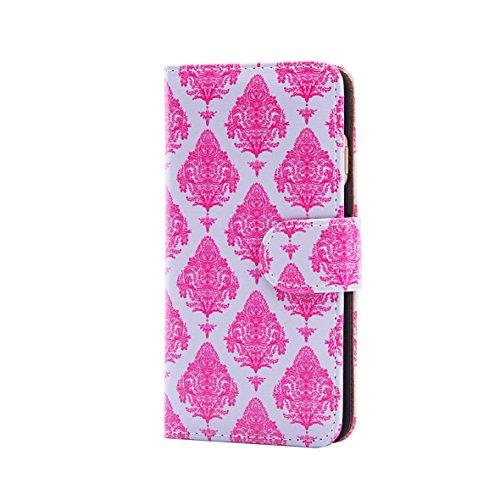 32nd Portafoglio Floreale Custodia PU Pelle per Apple iPhone 6 Plus / 6S Plus, Flip Case con Disegni di Fiori e Chiusura Magnetica - Vintage Rosa Mint Floral Portafoglio - Magenta damasco