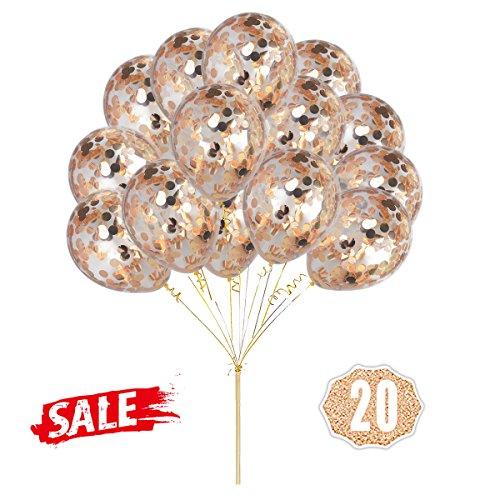 Champagner Konfetti Ballons, 12 Zoll (30cm) Latex Transparent Champagner Roségold Konfetti Party Luftballons mit Gold Ribbon für Hochzeit, Vorschlag, Geburtstag Party Dekorationen (20 Stück)