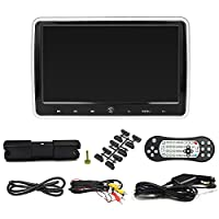 Fesjoy 10.1 Inches Car Headrest DVD Player Auto Monitor Touch Button Built-in Speakers Support Game Disk FM IR HD Input AV IN OUT SD Card Slot