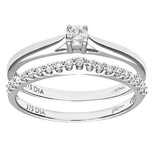 Naava Women's 9 ct White Gold 0.25 ct Diamond Bridal Set Wishbone Ring