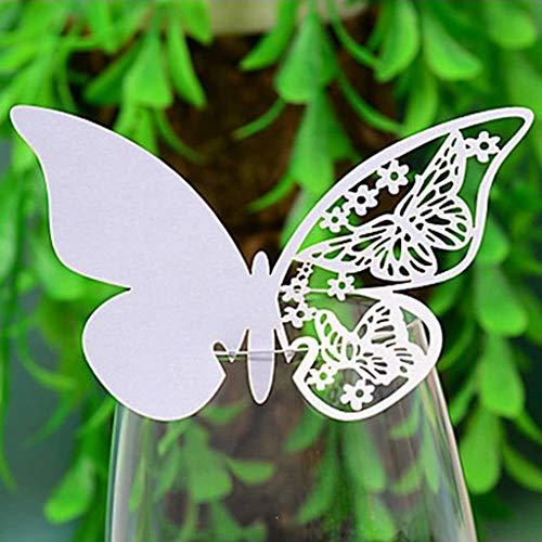 Hilai Pack 100 Shimmer Laser Cut weißer Schmetterlings Name Platzkarte für Hochzeits-Champagner/Weinglas oder Tisch Nummer Dekoration (100)