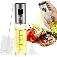Vegena Öl Sprüher Flasche, 100ml Ölsprüher Oil Sprayer Sprühflasche Olivenöl Sprayer Öl Glas Flasche Essig Spender für BBQ Kochen Pasta Salate Backen Braten Grillen