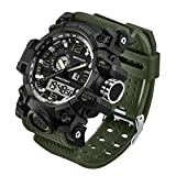 Taffstyle Herren Sportuhr Armbanduhr Silikon Sport Watch mit Licht Alarm Stoppfunktion Chronograph Digital Quarz Flieger Uhr Olivgrün