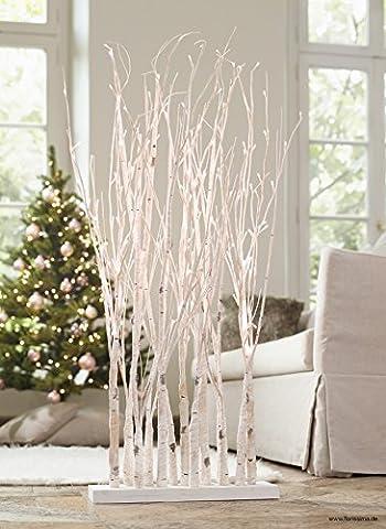Moderne Weihnachtsbeleuchtung / Ambientebeleuchtung - Weißer Birkenwald / Lichterwald / Dekobaum - Höhe 120cm - 150 LEDs - Weihnachten Dekoration / Raumteiler