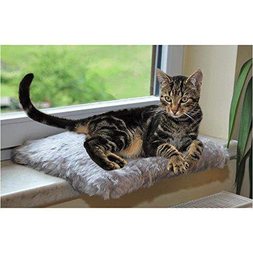 Silvio Design Katzenliege, Katzen-Kuschelbett, Fensterliege für Katzen, in grau, Maße: ca. 37 x 28 cm