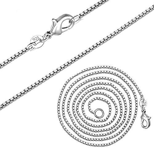Kangqifen Schmuck Damen Herren Halskette 925 Silber Box Kette,Breite 1,4 mm - Länge frei wählbar(45cm) (Männer Echte Katzen Lieben)