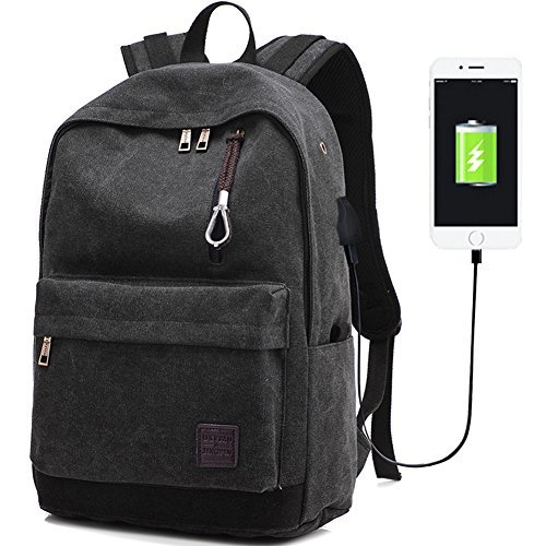Laptop Computer Backpack Hopesport External USB Charge Port with Built-in USB Charging Cable School Travel Backpacks(balck)