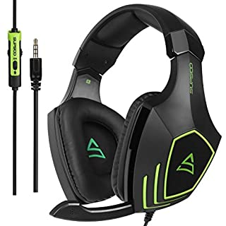 [2017 New recommended Multi-Platform Over Ear Stereo New Xbox one mic PS4 Headset Gaming Headset ] SUPSOO G820 Bass Gaming Headsets with Noise Isolation Microphone For New Xbox one PS4 PC Laptop Mac iPad iPod (Black&Green)