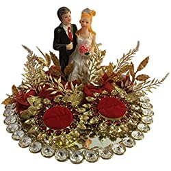 """Loops n knots Red Crystal Wedding Ring Platter With 2 Ring Holders Platter Size 8"""" Diameter"""