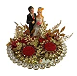 #4: Loops n knots Red Crystal Wedding Ring Platter With 2 Ring Holders Platter Size 8