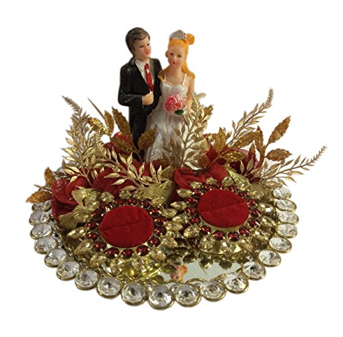 Loops n knots Red Crystal Wedding Ring Platter With 2 Ring Holders...