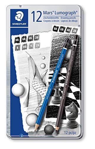 Staedtler 100 G12 S1 Zeichenbleistift Mars Lumograph Sechskantform, unglaublich bruchfeste Premium-Bleistifte, hohe Qualität, 12 Härtegrade, Metalletui (Skizzieren Bleistifte)
