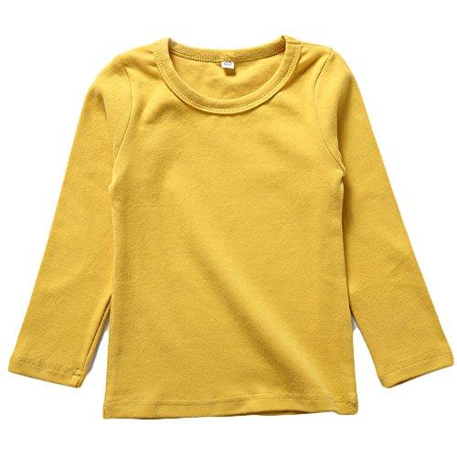 BINIDUCKLING Kids Basic Top Mädchen Jungen Langarm-T-Shirt, Gelb, 7T