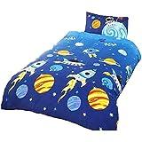 Rockets - Juego de Fundas nórdico/edredón cama individual para niños (Cama de 90/Multicolor)