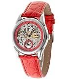 Yves Camani AILA Automatik Red Rot YC1036-C YC1036-C - Reloj para Mujeres, Correa de Cuero Color Rojo