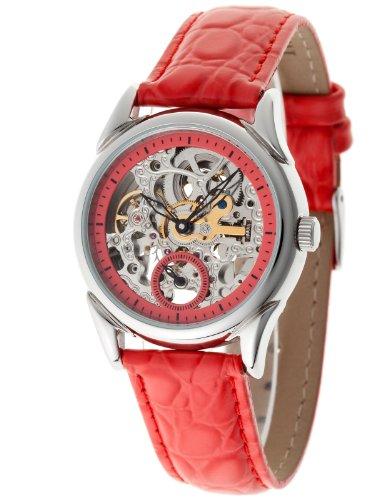 Yves Camani - YC1036-C - Aila - Montre Femme - Automatique Analogique - Cadran Multicolore - Bracelet Cuir Rouge