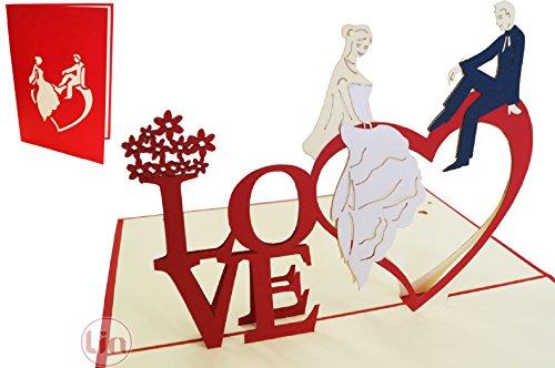 LIN-POP UP Karten Hochzeitskarten, Hochzeitseinladungen, 3D Karten Grußkarten Hochzeit, Hochzeitsglückwunsch, Hochzeit Herz, Hochzeitskarte Glückwunsch, Brautpaar auf Herz, N254
